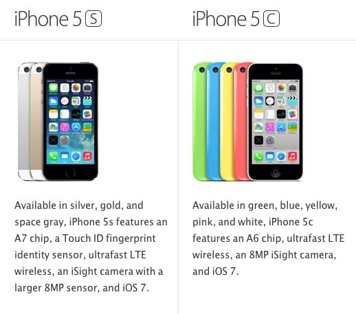 iPhone 5s / 5c Comparison